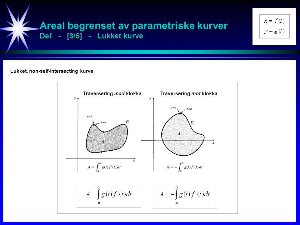 Areal begrenset av parametriske kurver Def - [3/5] - Lukket kurve